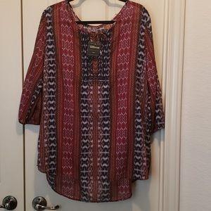 Eddie Bauer Cotton Sheer Pattern Tunic Size 2X